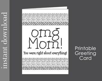 Mom Birthday Card, printable birthday, funny mom card, card download, card for mom, snarky mom card, Mother Birthday, diy card, Mother's Day