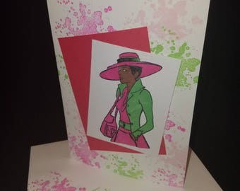 Pink and Green Woman in hat 2 Hand colored