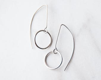 Small circle silver earrings
