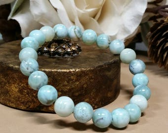 Dominican Republic Larimar Gemstone Bracelet  - The Dolphin Stone - Angelic Connection - Calming - Timeless - Reiki Jewelry - All Occasion