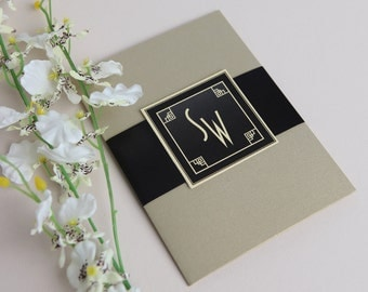 "Great Gatsby 1920's Wedding Invitations - 5"" x 7"" Pocketfold - Black and Gold"