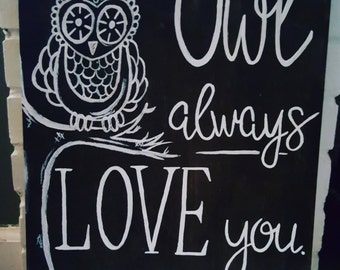 Owl Always Love You with Hooks, Handpainted 18x14 Wood Sign