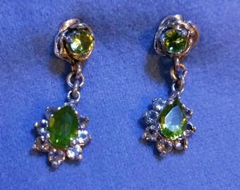 Sterling Silver Peridot Topaz Rose Stud Dangle Earrings