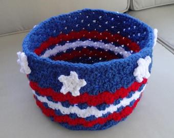 Stars & Stripes Large Round Basket