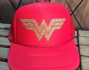 Wonderwoman glitter trucker hat