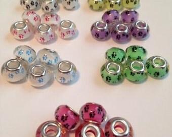 SALE,Paw Print European Beads, Paw Print Beads, Animal European Beads, European Bracelet Beads,Ships From USA