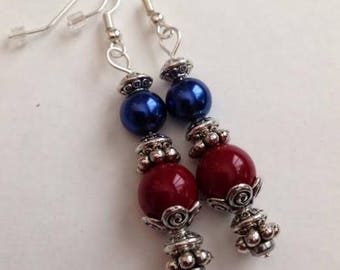 Blue and Red Earrings, Red and Blue Earrings, Blue and Red Jewelry, Red and Blue Jewelry, Ships From USA