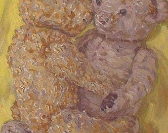 Sheila Tiffin Original Oil Painting - Two Teddy Bears