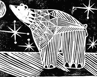 Mid century retro inspired linocut winter card with polar bear