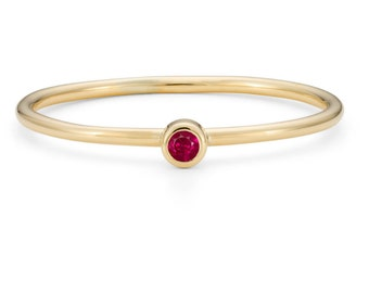 9ct Yellow Gold & Ruby, Skinny Stacking Ring - July Birthstone Ring - Alternative Engagement Ring