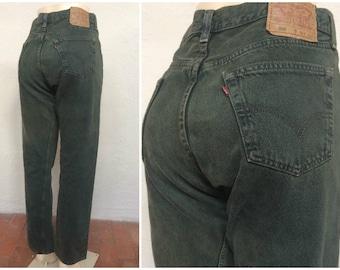 "90s Levi's 501 Dark Green Jeans size 33x31 ~ Vintage High Waisted Denim ~ Button Fly ~ Boyfriend Mom Dad ~ made in usa ~ 3304 ~ 33"" Waist"