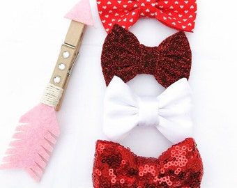 Lola Love Bow Set - Red and White Hairbows or Headbands- 3 piece set