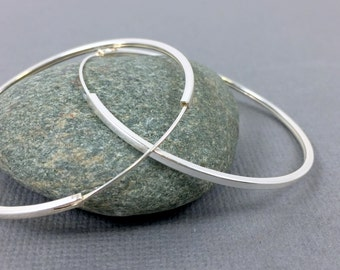 Large sterling silver hoops, Extra large silver hoop earrings, Silver hoops, Bohemian jewelry, Handmade sterling silver modern hoops