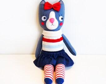 Felt Grey Cat Doll, Fabric Cloth Rag Doll, Animal Plush Toy, Stuffed Cat Doll, Gift for Her, Baby Shower, Nursery Decor, Girls Room Decor