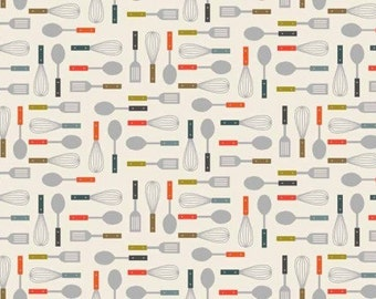 Makower Utensils Fabric from the Lila's Kitchen Range 100% Cotton