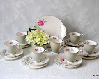 Vintage Royal Albert Tea Set, Fine Bone China, Pale Grey with Romantic Pink Roses, Perfect China Gift, Vintage Wedding China,  c 1960 s
