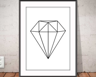 DIAMOND black and white poster, Geometric print, Diamond b&w, Abstract poster, Nordic style, Graphic home decor, Ikea Ribba frame, #2005