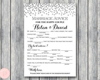 Silver Marriage advice cards, Marriage advice cards, Wedding Mad Libs, Bridal Shower Mad Libs, Bridal Mad Libs, Mad lib advice TG00 TH63