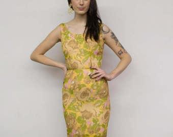 Vintage Green & Yellow Chiffon Wiggle Dress w/ Rhinestone Embellishment