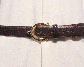 Vintage Nordstrom Dark Brown Alligator Pattern Belt
