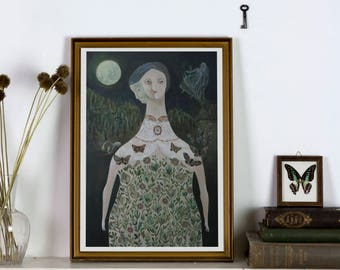 Spirit of the Witch - Giclée Print - open edition art print-witchy decoration fairytale moths and moon nightsky dreamy illustration wall art