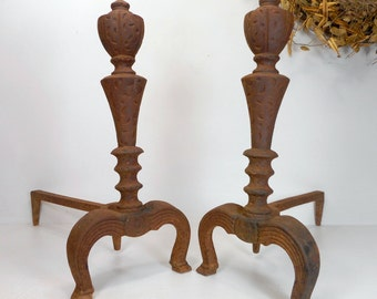 Fireplace Andirons, Vintage Firedogs, Cast Iron Log Holder, Hearth Insert, Antique Andirons