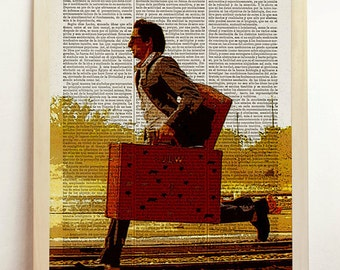 The Darjeeling Limited Print Wes Anderson Movie Poster Film Retro Alternative Vintage Art Upcycled Decor Book Dictionary