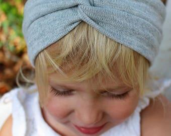 gray sweater knit turban headband