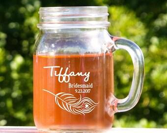 Mason Jar Glasses, Personalized Wedding Glassware, 4 Rustic Mason Jars, Barn Wedding Decor, Rustic Toasting Glasses, Etched Mason Jar Glass