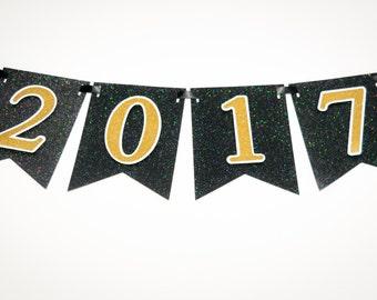 2017 Graduation Glitter Gold on Black Card Stock Banner with Black Satin Ribbon, 2017 Graduation Party Decoration