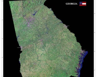 Georgia Satellite Imagery State Map Poster