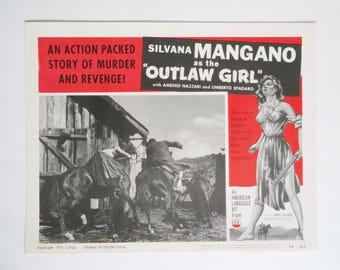 "Outlaw Girl Movie Lobby Card, Vintage Movie Lobby Card 11"" x 14"", 1955 Copyright, Ponti-De Laurentis Production, Movie Memorabilia Ephemera"