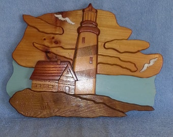 Wall Hanging - Lighthouse Theme - Wood Puzzle Art