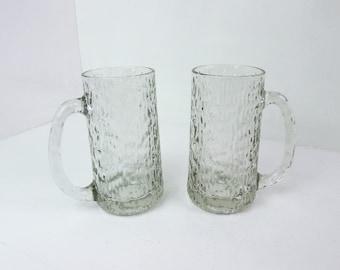 Beer mug pair, bark glass, tankards, beer steins, two half pint bark glass beer mugs, mid cemntury