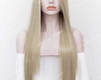 Brown Roots Ombre Harvest Blonde Extra Long Straight Layered Synthetic Soft  Swiss Lace Wig