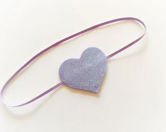 Lilac Baby / Toddler Skinny Headband with fine glitter heart