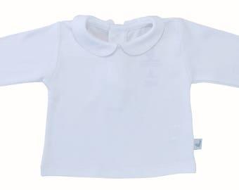 Peter Pan collar white shirt- long sleeves Pima cotton, peter pan collar boy shirt-peter pan collar girl shirt. white toddler shirt