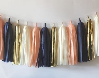Tassel Garland  //  Navy & Peach