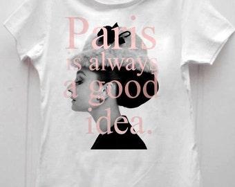 Lovely new t-shirt white cotton Audrey Hepburn Paris is always a good idea, Parigi è sempre una buona idea