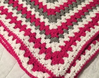 Pink Grey and White Crocheted Throw