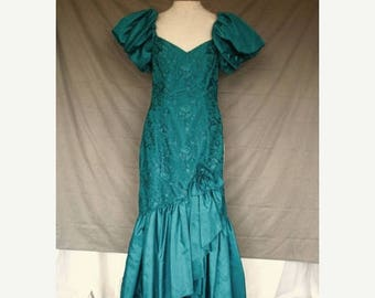 On Sale 1980's Formal Prom Evening Dress Teal Taffeta and Teal Lace