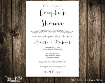 Printable Couple's Shower Invitation - Printable Invitation - Eucalyptus Flower - ARIELLE Collection