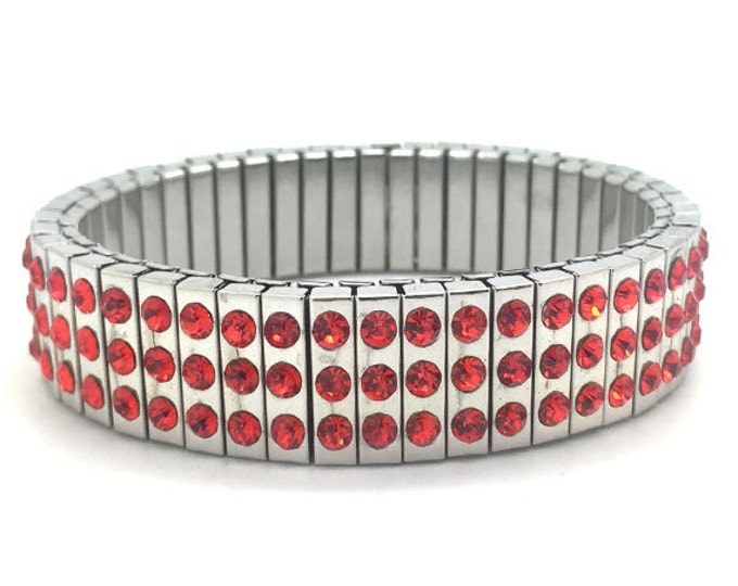 Red crystal bracelet, Bling, Stainless Steel, Repurpose Watch Band, Stretch Bracelet, Wrist Band, Sublimation, gift for friends