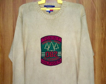 Rare Vintage TOMMY HILFIGER Outdoors Expedition Petrol 082 Knit Sweatshirt