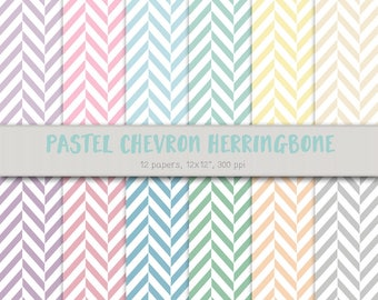 Digital Chevron Paper - Pastel Chevron Herringbone - Printable Chevron Paper - Printable Herringbone Paper - Pastel Printable Paper Crafts