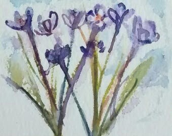 ACEO Original Painting  Purple Crocus Artist Trading  Card  Frameable Art