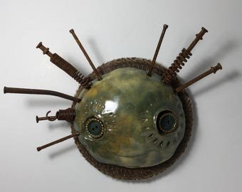 Miss Ellen ceramic mask and found object sculpture, mask, wall art