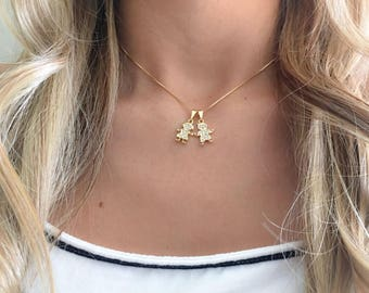 Gold Necklace Boy girl,  18 k Gold plated Necklace Boy and girl Charm , mothers day gift ,  Girl  Boy charm neckalce