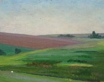 VINTAGE ORIGINAL LANDSCAPE Original Oil Painting 1960s, Soviet Ukrainian Art, Nature painting, Fields, Meadows, High Quality