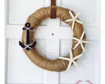 Nautical Rope Wreath - Beach Wreath- Nautical Anchor Wreath